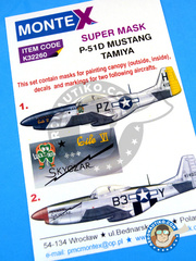 Montex Mask: Masks 1/32 scale - North American P-51 Mustang D - Chievres, Belgium, April 1945 (US7); August 1944 (US7) 1944 and 1945 - for Tamiya reference TAM60322