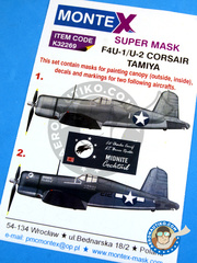 Montex Mask: Masks 1/32 scale - Vought F4U Corsair F4U-1 Birdcage - July 1943. (US5); December 1943 (US7) - , Cherry Point North Carolina 1943 and 1944 - paint masks, water slide decals, placement instructions and painting instructions - for Tamiya kits.