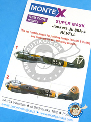 Montex Mask: Masks 1/32 scale - Junkers Ju-88 A-4 - Russia 1944 (DE2) + Gerbini ( Sicilia ), April 1942 (DE2) - , Gerbini 1942 and 1944 - paint masks and placement instructions - for Revell reference REV03988