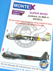 Montex Mask: Masks 1/32 scale - Junkers Ju-88 A-4 - Easter front, winter 1943 (HU6); Albacete, November 1943 (ES2) - Ukranian, Albacete 1943 - paint masks and placement instructions