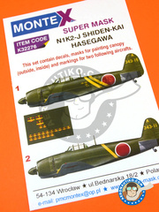 Montex Mask: Decals 1/32 scale - Kawanishi N1K 2-J Shiden-Kai - IJAAF (JP0) 1945 - masks, decals - for Hasegawa kit