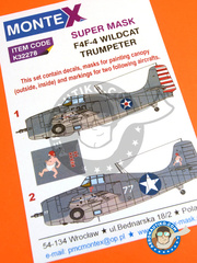 Montex Mask: Masks 1/32 scale - Grumman F4F Wildcat 4 - US Navy (US4);  (US5) - , USS Enterprise 1942 - paint masks, water slide decals and assembly instructions - for Trumpeter kit references 02223, 02225, 02255