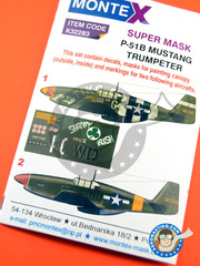 Montex Mask: Masks 1/32 scale - North American P-51 Mustang B - Summer 1944 (US7); Madna, Italy, June 1944 (US7) - paint masks, water slide decals, placement instructions and painting instructions - for Trumpeter kit