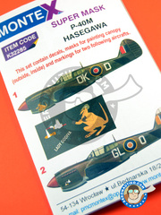 Montex Mask: Masks 1/32 scale - Curtiss P-40 Warhawk N - Italy, 1944 - 45. (GB4); Italy 1943 (GB4) 1944 and 1945 - paint masks, water slide decals, placement instructions and painting instructions - for Hasegawa kits
