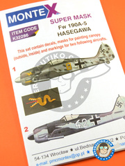 Montex Mask: Masks 1/32 scale - Focke-Wulf Fw 190 Würger A-5 - July 1943 (DE2); Achmer, early summer 1943. (DE2) 1943 - paint masks, water slide decals, placement instructions and painting instructions - for Hasegawa kits.
