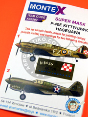 Montex Mask: Masks 1/32 scale - Curtiss P-40 Warhawk E Kittyhawk - US Army (US4); RAF (GB3) - Ukranian 1942 - paint masks and placement instructions - for Hasegawa references 08226 and 08226