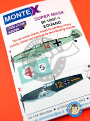 Montex Mask: Masks 1/32 scale - Messerschmitt Bf 109 E-1 - August 1940 (DE2); summer 1939 (DE2) 1939 and 1940 - paint masks, water slide decals, placement instructions and painting instructions - for Eduard kit