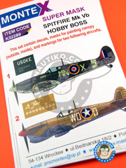 Montex Mask: Masks 1/32 scale - Supermarine Spitfire Mk. Vb - (GB4); La Sebala, Tunisia, June 1943. (US5) 1943 - paint masks, water slide decals, placement instructions and painting instructions - for Hobby Boss kits image