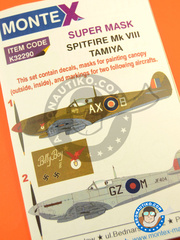 Montex Mask: Masks 1/32 scale - Supermarine Spitfire Mk. VIII - early 1944 (GB4); Italy, early 1944. (GB1) 1944 - paint masks, water slide decals, placement instructions and painting instructions - for Tamiya kit