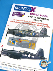 Montex Mask: Masks 1/32 scale - Vought F4U Corsair 1A - December 1943 (US7); October 1945. (NZ2) 1943 and 1945 - paint masks, water slide decals, placement instructions and painting instructions - for Tamiya kits