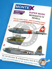 Montex Mask: Masks 1/32 scale - De Havilland Mosquito FB Mk.VI - March 1945 (CH1); November 1943 (US6) 1943 and 1945 - paint masks, water slide decals and placement instructions - for Revell kits