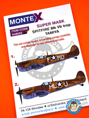 Montex Mask: Masks 1/48 scale - Supermarine Spitfire Mk. Vb Trop - Gozo, Summer 1943 (US5); Gozo, June 1943 (US5) - Gozo, Malt Island 1943 - paint masks, placement instructions and painting instructions - for Tamiya kits