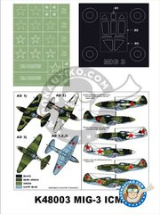Montex Mask: Masks 1/48 scale - MiG-3 - paint masks, placement instructions and painting instructions - for ICM kits