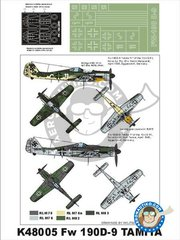 Montex Mask: Masks 1/48 scale - Fw 190 D9 - paint masks, placement instructions and painting instructions - for Tamiya kits