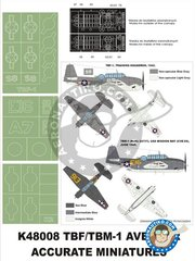 Montex Mask: Masks 1/48 scale - TBM-1C Avenger - paint masks, placement instructions and painting instructions - for Accurate Miniatures kits