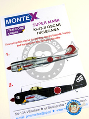 Montex Mask: Masks 1/48 scale - Nakajima Ki-43 Hayabusa Oscar II - July 1945 (JP0); February 1945 (JP0) - Japan 1945 - paint masks, placement instructions and painting instructions - for Hasegawa kit