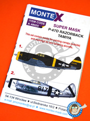 Montex Mask: Masks 1/48 scale - Republic P-47 Razorback D - 14th AF (US7); Saipan 1944 (US7) - USAF - paint masks, placement instructions and painting instructions - for Tamiya kits