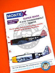 Montex Mask: Masks 1/48 scale - Republic P-47 Thunderbolt D Bubble Top -  (US7); Okinawa, August 1945 (US7) - USAF 1945 - paint masks, placement instructions and painting instructions - for Tamiya kits