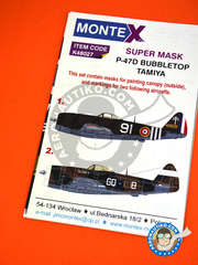 Montex Mask: Masks 1/48 scale - Republic P-47D Bubbletop - Free French Air Force (FR3);  (GB5) - paint masks, placement instructions and painting instructions - for Tamiya kits