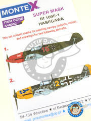 Montex Mask: Masks 1/48 scale - Messerschmitt Bf 109 E-1 - September 1940 (DE2);  (DE2) - Luftwaffe 1940 - paint masks, placement instructions and painting instructions - for Hasegawa kit