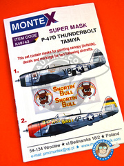 Montex Mask: Marking / livery 1/48 scale - Republic P-47 Thunderbolt D Bubble Top - USAF (US7) - Ukranian 1944 - paint masks, water slide decals and assembly instructions - for Tamiya reference TAM61510
