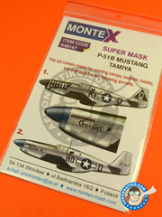 Montex Mask: Masks 1/48 scale - North American P-51 Mustang B - USAF (US7) 1945 - for Tamiya reference TAM61042