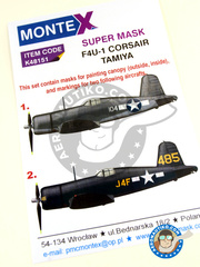 Montex Mask: Masks 1/48 scale - Vought F4U Corsair F4U-1 Birdcage - USAF (US7) 1943 - for Tamiya