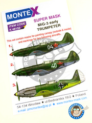 Montex Mask: Masks 1/48 scale - Mikoyan-Gurevich MiG-3 early - Achmer, early summer 1943. (DE2); Russian Air Force (RU4); Russian Air Force (RU2) 1941 - for Trumpeter kit image