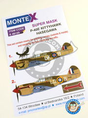 Montex Mask: Marking / livery 1/48 scale - Curtiss P-40 Warhawk E - Italy, 1944 - 45. (GB4); Lybia, December 1941 (GB3) 1942 - for Hasegawa reference 09086