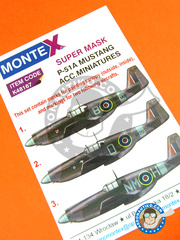 Montex Mask: Masks 1/48 scale - North American P-51 Mustang A - 1943 (GB4); June 1943 (GB4); July 1942 (GB4) - paint masks - for Accurate Miniatures kit