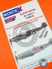 Montex Mask: Masks 1/48 scale - Messerschmitt Bf 109 E-4 - Germany 1941 (DE2);  (DE2) - paint masks - for Tamiya kit