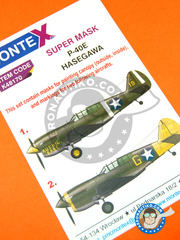 Montex Mask: Masks 1/48 scale - Curtiss P-40 Warhawk E - Aleutian Island, early 1942 (US5);  (US5) - paint masks - for Hasegawa kit