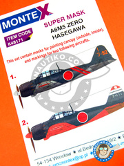 Montex Mask: Masks 1/48 scale - Mitsubishi A6M Zero 5 - early 1945 (JP0); winter 1944 (JP0) - paint masks - for Hasegawa kit