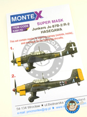 Montex Mask: Masks 1/48 scale - Junkers Ju-87 Stuka B-2 / R-2 - Regia Aeronautica (IT1); Luftwaffe (DE2) - masks - for Hasegawa reference 09113, or Italeri reference ITA2690