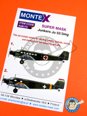 Montex Mask: Masks 1/48 scale - Junkers Ju 52 3mg - Easter front, winter 1943 (HU6); International Committee of the Red Cross (RC0) 1939 and 1944 - for Revell references REV04519, REV04521 and REV05718 image