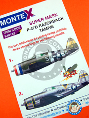 Montex Mask: Masks 1/48 scale - Republic P-47 Thunderbolt D Razorback - Ukranian - for Tamiya reference TAM61086