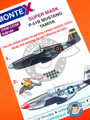 Montex Mask: Masks 1/48 scale - North American P-51 Mustang B - for Tamiya reference TAM61042