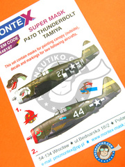 Montex Mask: Masks 1/48 scale - Republic P-47 Thunderbolt D Razorback 1944 - for Tamiya reference TAM61086