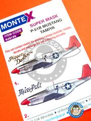 Montex Mask: Masks 1/48 scale - North American P-51 Mustang B - for Tamiya kit