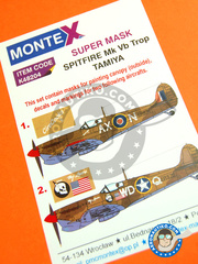Montex Mask: Masks 1/48 scale - Supermarine Spitfire Mk. Vb - Goubrine, Tunisia, April 1943 (GB4); La Sebala, Tunisia, mid 1943 (US5) - RAF - paint masks, water slide decals and placement instructions - for Tamiya reference TAM61035
