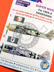 Montex Mask: Masks 1/48 scale - Focke-Wulf Fw 190 Würger A-8 - Luftwaffe (DE2) 1944 and 1945 - decals, masks - for Italeri reference 2751