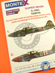 Montex Mask: Marking / livery 1/48 scale - Ilyushin IL-2 Shturmovik IL-2M3 - Russian Air Force (RU2) 1945 - masks, decal - for Tamiya reference TAM61113 image