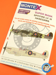 Montex Mask: Masks 1/48 scale - Supermarine Spitfire Mk IX - (GB4); RAF (GB4) 1944 and 1945 - for Hasegawa reference 09079 image