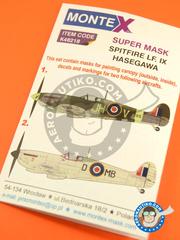 Montex Mask: Masks 1/48 scale - Supermarine Spitfire Mk IX - RAF (GB4) - Guadalcanal 1944 and 1945 - for Hasegawa reference 09079 image