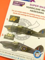 Montex Mask: Masks 1/48 scale - Hawker Hurricane Mk IIc - RAF (GB4); RAF (GB5) - Guadalcanal 1943 and 1944 - for Hasegawa kit image