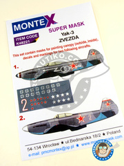 Montex Mask: Marking / livery 1/48 scale - Yakovlev Yak-3 - Russian Air Force (RU2) 1945 - for Eduard reference 8457, or Zvezda reference 4814