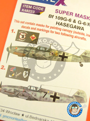 Montex Mask: Masks 1/48 scale - Messerschmitt Bf 109 G-6 G-6/R-6 - Luftwaffe (DE2) 1943 - paint masks, water slide decals and assembly instructions - for Hasegawa kit