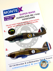 Montex Mask: Masks 1/48 scale - Hawker Hurricane Mk I - RAF (GB3); Armée de l'Air (FR4) - Guadalcanal 1940 and 1942 - for Hasegawa kit image
