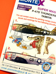 Montex Mask: Masks 1/48 scale - Republic P-47 Thunderbolt D - USAF (US7) - Ukranian 1945 - for Tamiya reference TAM61510