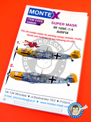 Montex Mask: Masks 1/48 scale - Messerschmitt Bf 109 E-1/4 - November 1943 (DE2); Luftwaffe (DE2) - masks, decals - for Hasegawa references 07316 and 07379 image